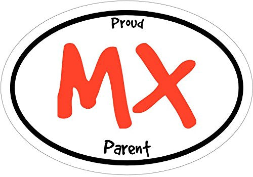 WickedGoodz Oval Vinyl Proud MX Parent Motocross Decal - Sports Bumper Sticker - Perfect MX Sport Parent Gift-WickedGoodz