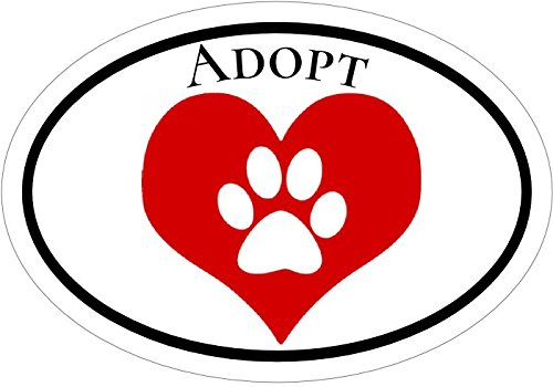 WickedGoodz Oval Heart with Paw Print Adopt Animal Shelter Vinyl Window Decal - Shelter Bumper Sticker - Perfect Pet Lover Gift-WickedGoodz