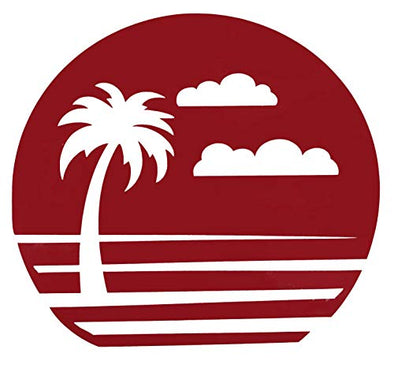 Custom Vintage Sunset Palm Vinyl Decal - Beach Bumper Sticker, for Tumblers, Laptops, Car Windows - Pick Your Size and Color-WickedGoodz