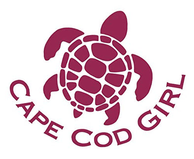Custom Sea Turtle Cape Cod Girl Vinyl Decal - Beach Bumper Sticker, for Tumblers, Laptops, Car Windows - Personalized Cape Cod Gift-WickedGoodz
