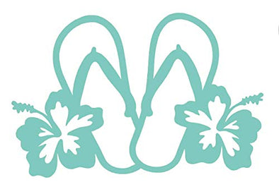Custom Vinyl Tropical Hibiscus Double Flip Flop Sandal Decal Transfer - Beach Flower Bumper Sticker for Tumblers, Laptops, Car Windows-WickedGoodz