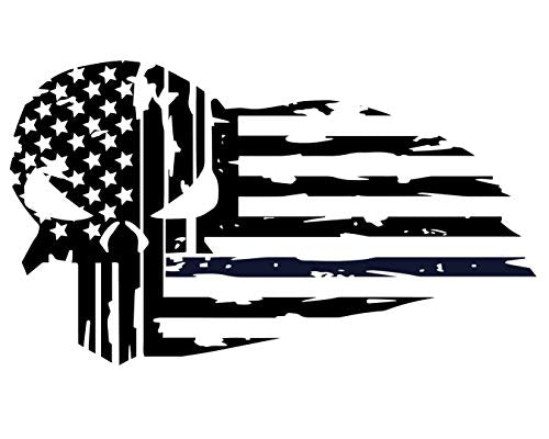 Custom Vinyl Distressed American Flag Skull Decal - Soldier Bumper Sticker, for Tumblers, Laptops, Car Windows - Patriotic Military Gift-WickedGoodz