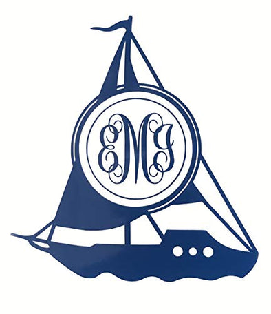 Custom Sail Boat Monogram Vinyl Decal - Sailing Bumper Sticker, for Coolers, Boats, Laptops, Car Windows - Personalized Sailboat Initial Sticker-WickedGoodz