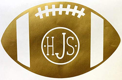 Custom Vinyl Monogram Football Decal - Personalized Initial Sticker - Pick Letters, Size, Color-WickedGoodz