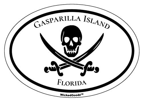 WickedGoodz Oval Vinyl Gasparilla Island Pirate Decal - Florida Bumper Sticker - Beach Vacation Souvenir Gift-WickedGoodz