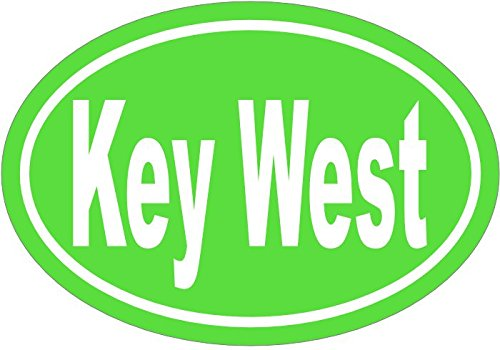WickedGoodz Oval Vinyl Green Key West Decal - Florida Bumper Sticker - Perfect Beach Vacation Souvenir Gift-WickedGoodz