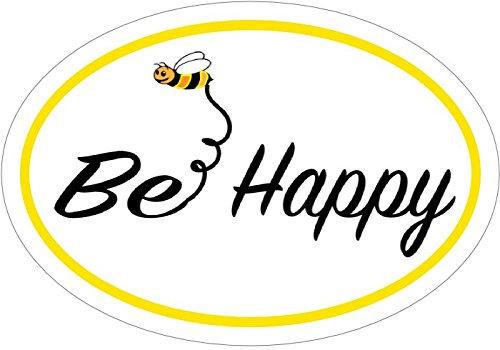 WickedGoodz Oval Bee Happy Bee Vinyl Decal - Bee Happy Bumper Sticker - Perfect Inspirational Gift-WickedGoodz