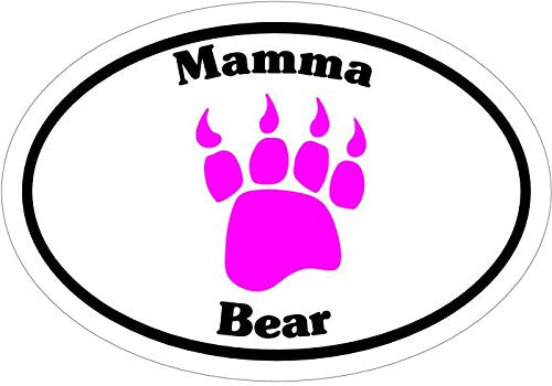 WickedGoodz Oval Pink Mamma Bear Vinyl Decal - Paw Bumper Sticker - Perfect Mother Nature Gift-WickedGoodz