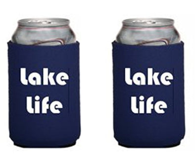 WickedGoodz Set of Two Blue Lake Life Insulated Neoprene Can Coolers - Lake Life What Happens at the Lake stays at the Lake Can Sleeve - Can Hugger- Beer Cozy Gift-WickedGoodz