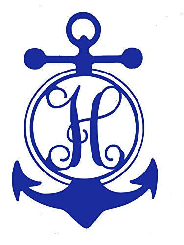 Custom Initial Monogram Vinyl Decal Bumper Sticker, for Tumblers, Laptops, Car Windows - Single Letter Nautical Anchor Design-WickedGoodz