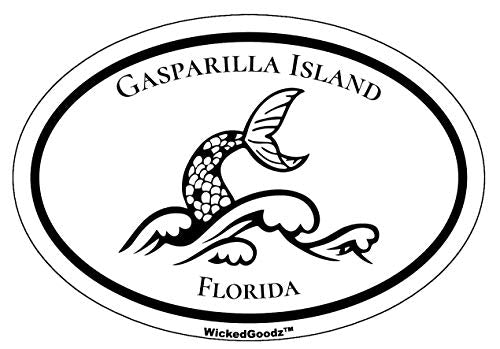 WickedGoodz Oval Vinyl Gasparilla Island Mermaid Tail Decal - Florida Bumper Sticker - Beach Vacation Souvenir Gift-WickedGoodz