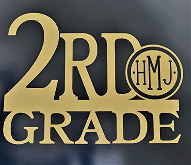 Custom Monogram Vinyl Decal 2nd Grade-WickedGoodz