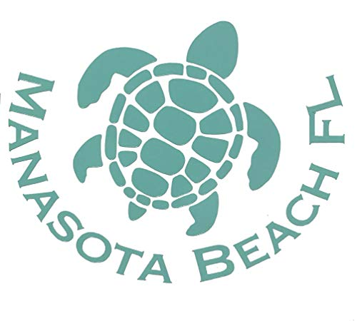 Custom Vinyl Manasota Beach Florida Decal, Turtle Bumper Sticker, for Tumblers, Laptops, Car Windows - Choose Color and Size-WickedGoodz