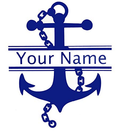 Custom Initial Monogram Name Vinyl Decal Chained Nautical Anchor Design-WickedGoodz