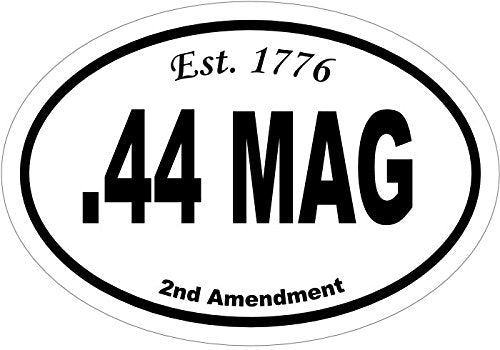 Oval 44 Mag Est.1776 Vinyl Decal - Gun Bumper Sticker - Handgun Caliber 2nd Amendment Gift-WickedGoodz