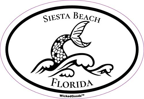 WickedGoodz Oval Siesta Key Beach Vinyl Decal - Mermaid Tail Bumper Sticker - Florida Beach Vacation Souvenir Gift-WickedGoodz