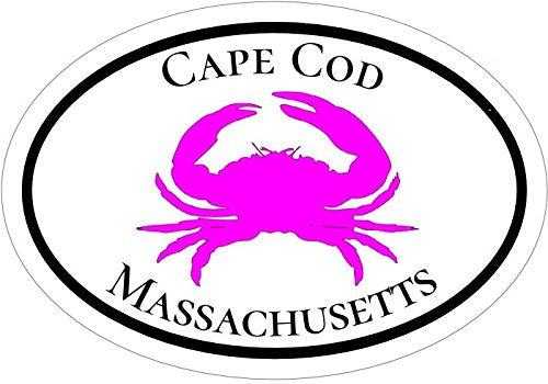 WickedGoodz Oval Pink Crab Cape Cod Vinyl Decal - Beach Bumper Sticker - Perfect Mass Vacation Gift-WickedGoodz