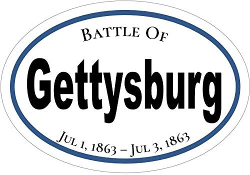 WickedGoodz Oval American Civil War Gettysburg Vinyl Decal - History Bumper Sticker - Perfect Blue and Grey Gift-WickedGoodz