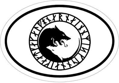 WickedGoodz Oval ÚLFHÉÐNAR Wolf Vinyl Decal - Viking Bumper Sticker - Perfect Norse Scandinavian Gift-WickedGoodz