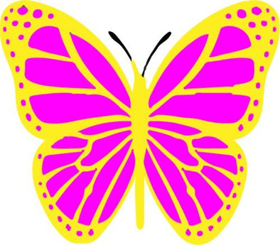 WickedGoodz Die Cut Pink and Yellow Butterfly Vinyl Decal - Cute Bumper Sticker - Perfect Butterfly Gift-WickedGoodz