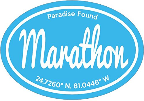 WickedGoodz Vinyl Blue Marathon Paradise Found Florida Keys Decal - Florida Bumper Sticker - Perfect Beach Vacation Souvenir Gift-WickedGoodz