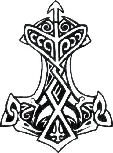 WickedGoodz Circle Thor Hammer Vinyl Decal - Viking Bumper Sticker - Norse Rune Scandinavian Gifts-WickedGoodz