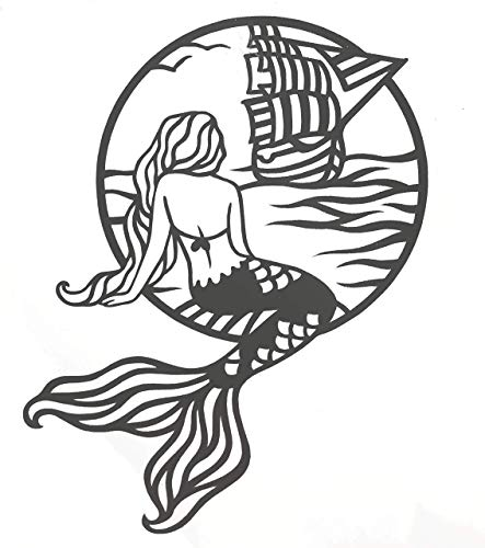 Custom Mermaid In The Sea Vinyl Decal - Beach Bumper Sticker, for Tumblers, Laptops, Car Windows - Mermaid Tail Ocean Sailboat Design-WickedGoodz