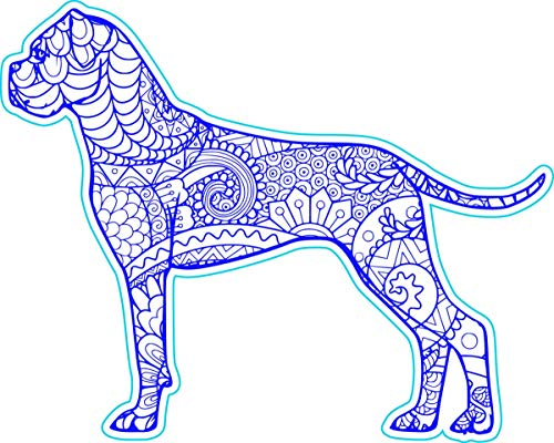 WickedGoodz Vinyl Blue Boho Style Boxer Decal - Dog Bumper Sticker - Perfect Pet Boxer Owner Gift-WickedGoodz