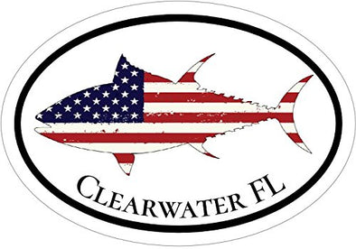 WickedGoodz Oval American Flag Tuna Clearwater FL Vinyl Decal - Florida Bumper Sticker - Perfect FLA Beach Vacation Gift-WickedGoodz