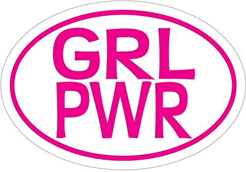 WickedGoodz Oval GRL PWR Girl Power Vinyl Decal - Feminist Bumper Sticker - Perfect Woman Girl Decoration Gift-WickedGoodz