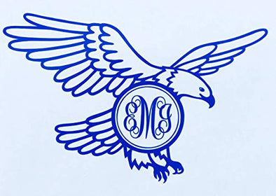 Initial Monogram Eagle Vinyl Decal Tumbler Sticker-WickedGoodz