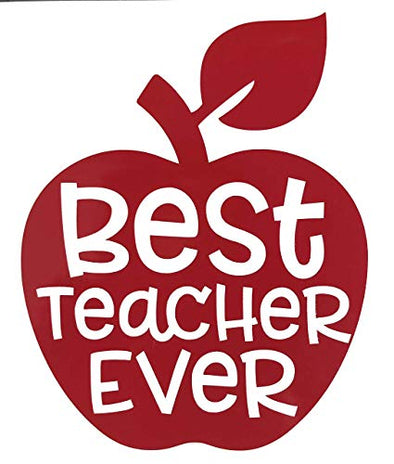 Teacher Vinyl Decal - Teacher Apple Decal, Best Teacher Ever, Teacher Apple Sticker, Teacher Appreciation Gift-WickedGoodz