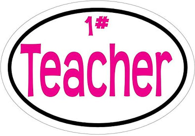 WickedGoodz Oval Vinyl Pink 1# Teacher Decal-WickedGoodz