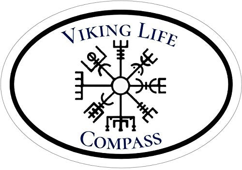 WickedGoodz Oval Viking Life Vegvísir Compass Viking Vinyl Decal - Norse Bumper Sticker - Scandinavian Norse Gift-WickedGoodz