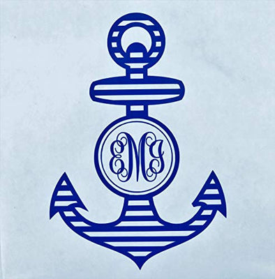 Custom Initial Monogram Vinyl Decal Bumper Sticker, for Tumblers, Laptops, Car Windows - Nautical Anchor Design-WickedGoodz