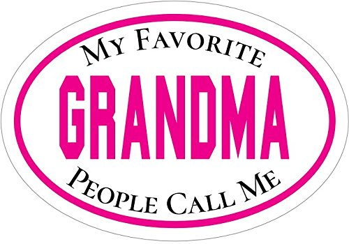 WickedGoodz Pink Oval My Favorite People Call Me Grandma Decal - Grandmother Bumper Sticker - Perfect Favorite Grand Parent Gift-WickedGoodz