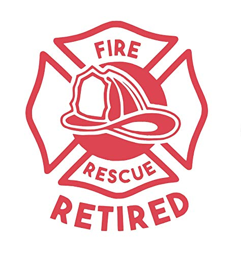 Custom Rescue Retired Firefighter Vinyl Decal - Fireman Bumper Sticker, for Laptops or Car Windows - Pick Size and Color Vinyl Transfer-WickedGoodz