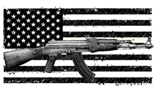Vinyl American Flag Ak-47 Decal - Gun Bumper Sticker - 2nd Amendment Gift-WickedGoodz