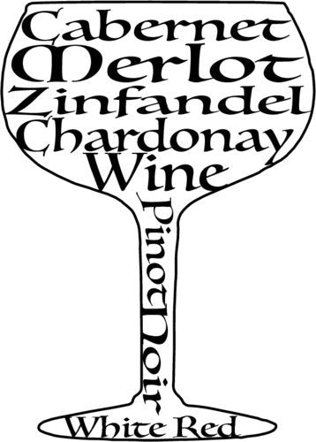 WickedGoodz Vinyl Wine Glass Decal Bumper Sticker - Perfect Home Bar or Wine Enthusiast Gift-WickedGoodz