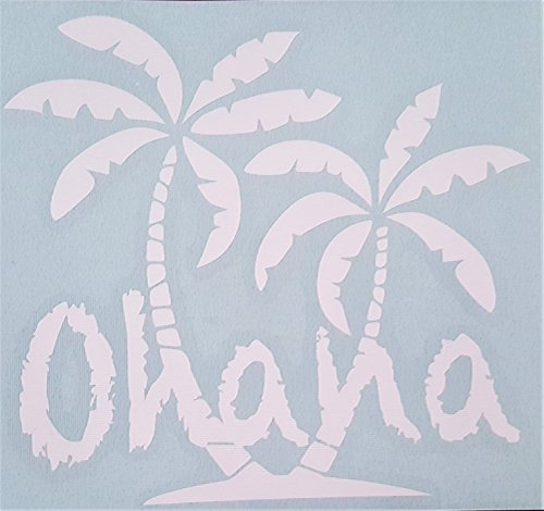 WickedGoodz White Ohana Palm Trees Vinyl Decal - Tropical Bumper Sticker - Perfect Family Love Gift-WickedGoodz