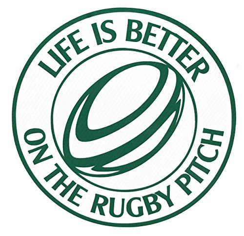 Custom Vinyl Life is Better on the Rugby Pitch Decal - Rugby Football Bumper Sticker, for Tumblers, Laptops, Car Windows - Personalized Sports Gift-WickedGoodz