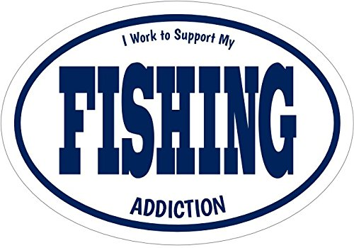 WickedGoodz I Work to Support My Fishing Addiction Vinyl Window Decal - Fishing Bumper Sticker - Perfect Angler Gift-WickedGoodz
