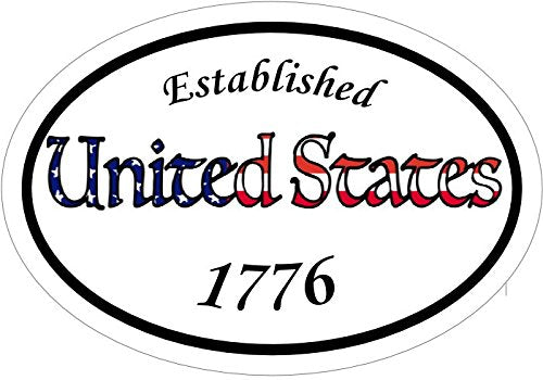 WickedGoodz Oval Vinyl American Flag 1776 Decal - Patriotic Bumper Sticker - Perfect USA Gift-WickedGoodz