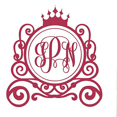 Custom Princess Crown & Carriage Initial Monogram Vinyl Decal - Fantasy Bumper Sticker, for Tumblers, Laptops, Car Windows-WickedGoodz