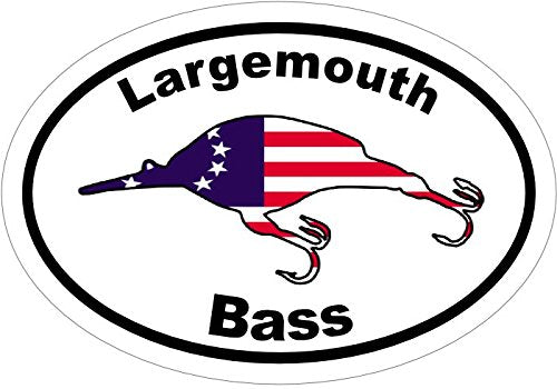 WickedGoodz Vinyl Oval American Flag Bass Decal - Fishing Bumper Sticker - Perfect Largemouth Angler Gift-WickedGoodz