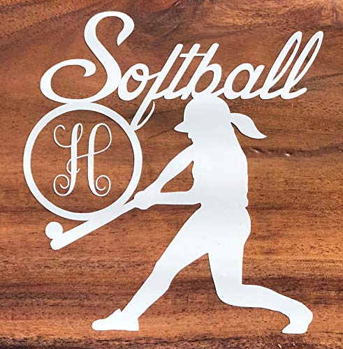 Custom Initial Monogram Softball Vinyl Decal-WickedGoodz