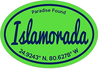 WickedGoodz Green Paradise Found Islamorada Florida Keys Vinyl Window Decal - Florida Bumper Sticker - Perfect Vacation Souvenir Gift-WickedGoodz
