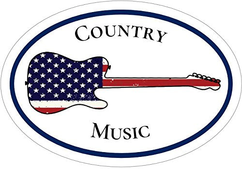 WickedGoodz Oval American Flag Guitar Country Music Vinyl Decal - Musician Bumper Sticker - Perfect Country Music Fan Gift-WickedGoodz