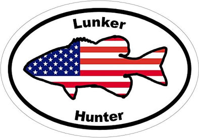 Oval Vinyl American Flag Largemouth Bass Decal - Fishing Bumper Sticker - Sportsman Gift-WickedGoodz