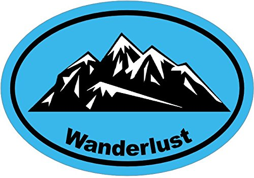 WickedGoodz Oval Vinyl Blue Wanderlust Decal - Mountain Bumper Sticker - Perfect Hiker or Explorer Gift-WickedGoodz